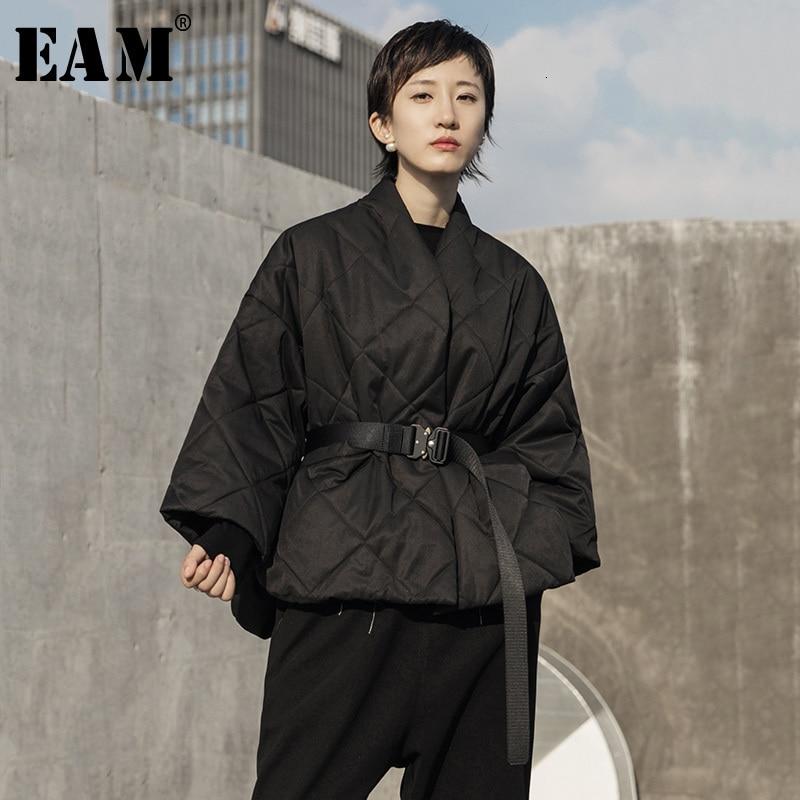 [EAM] Black Big Size Short Cotton-padded Coat Long Sleeve Loose Fit Women Parkas Fashion Tide New Autumn Winter 2020 1H311