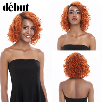 Pixie Cut Curly Bob Wigs Orange Lace Frontal Human Hair Wigs TT1B/613 Blonde Wavy Human Hair Wigs Natural Black Part Lace Wigs image