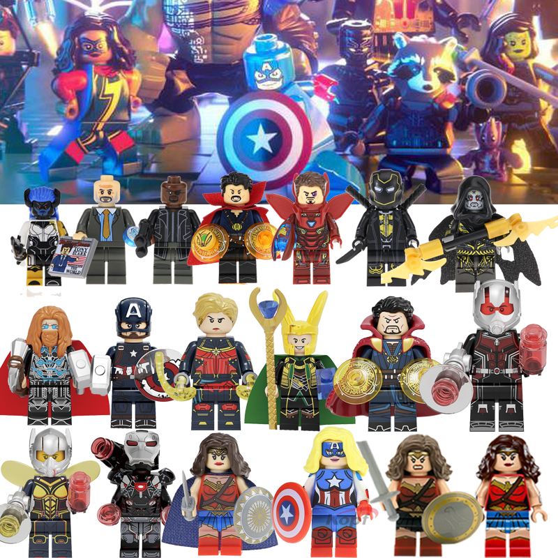 Super Heroes Marvel Compatible Legoings Avengers Infinity War Thanos Gauntlet Thor Iron Spider Man Building Blocks Toys Figures