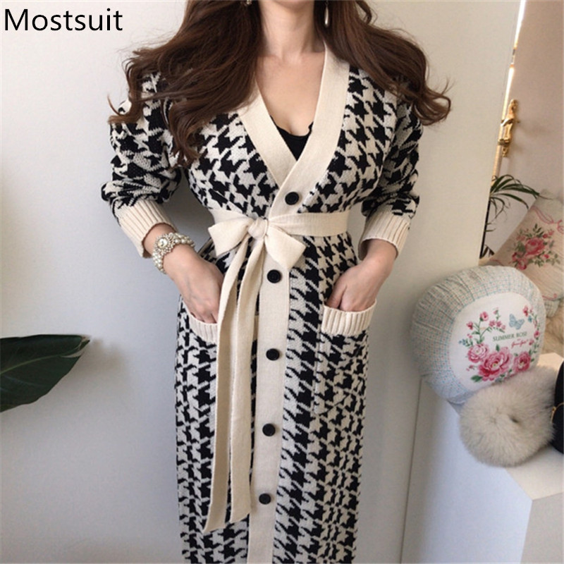 2020 Spring Houndstooth Knitted Long Cardigans Sweaters Women Long Sleeve Singe-breasted V-neck Sashes Vintage Fashion Tops