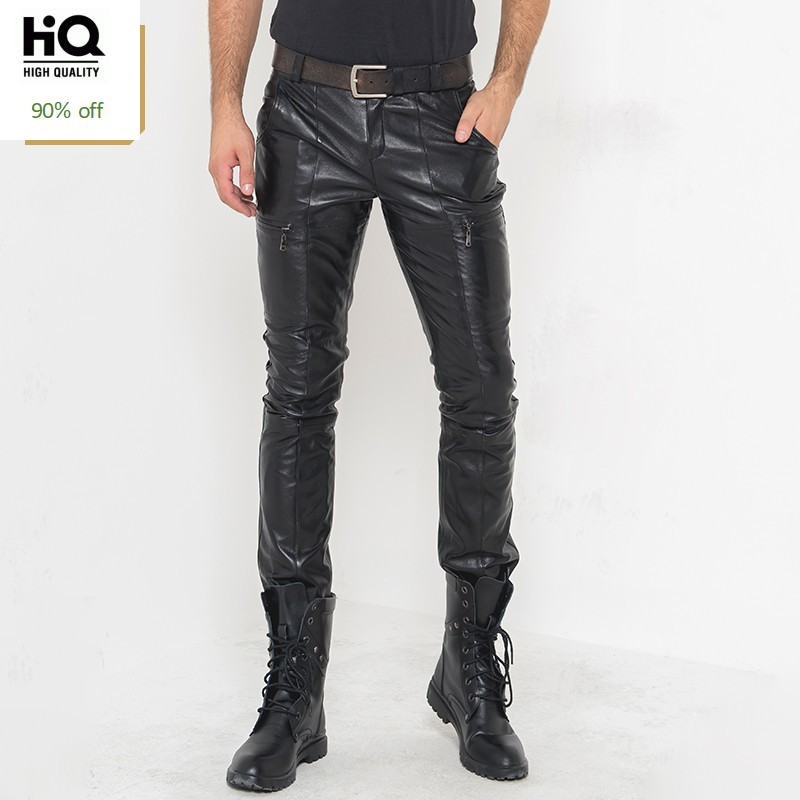 Genuine Leather Mens Pants Autumn 2020 Hot Fashion Real Sheepskin Biker Slim Skinny Long Trouser Casual Streetwear Pantalon Male