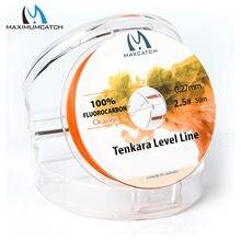 Maximumcatch tenkara linha de nível 50 m 2.5 #/3.0 # fluorocarbon rosa/laranja tenkara linha de pesca com mosca