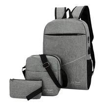 3PC Set Fashion Men Women Backpack Simple Canvas Backpack School Bags Teenage High Quality Travel Backpacks Shoulder Bag mochila стоимость