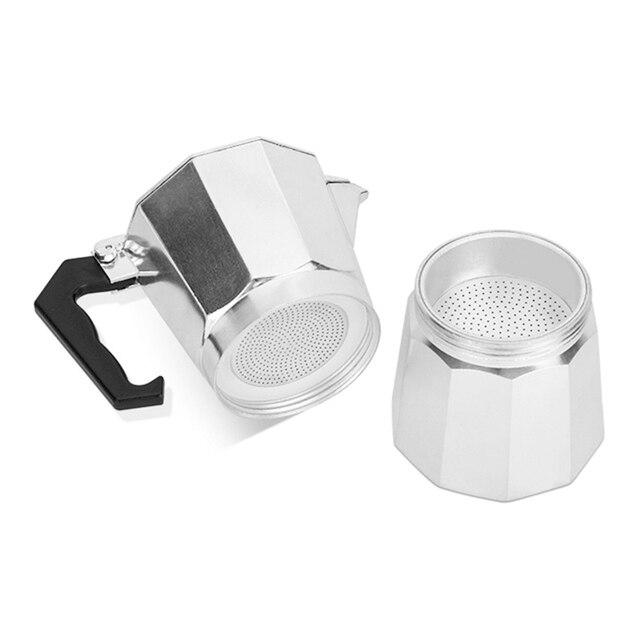 Italian Moka Espresso Coffeeware Mocha Latte Aluminum Coffee Maker Percolator Pot 100/200/300/450/600ML Stovetop Coffee Machine 5