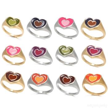 Nowy Ins kreatywny proste kolorowe podwójna warstwa miłość pierścień z sercem w stylu Vintage pierścień z sercem 1 sztuk tanie i dobre opinie CN (pochodzenie) Ze stopu cynku Kobiety Metal Śliczne Romantyczne R090 moda Na imprezę Pierścionki