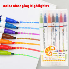 Color changing Highlighter A set of 7 colors Art painting study notes mark the key points