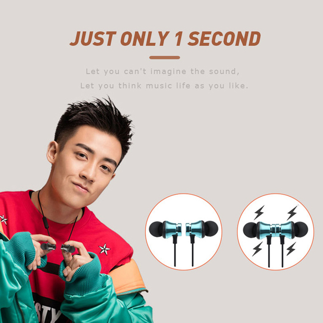 Sports magnet Stereo Bluetooth Earphone With HD Mic Wireless Sport Headset Earbuds For Android IOS 3