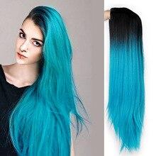 Ombre Синий Зеленый прямые Длинные Синтетические парики для женщин черный розовый парики 24 дюймов можно Косплей парики термостойкие I's a парик