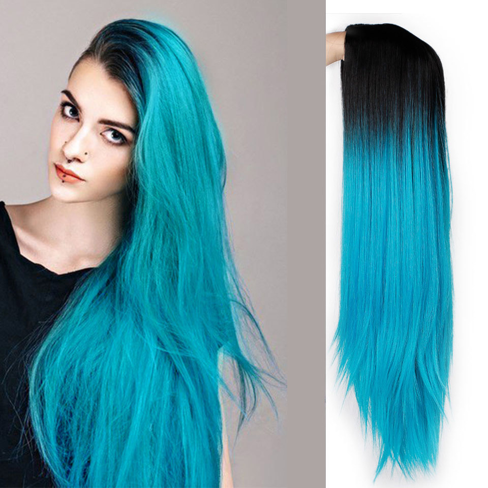Ombre Blue Green Straight Long Synthetic Wigs For Women Black Pink Wigs 24 Inch Can Be Cosplay Wigs Heat Resistant  I's A Wig