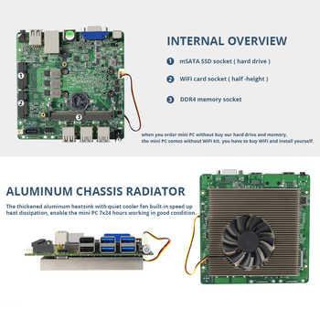 Intel Core i7 8550U i5 8250U DDR4 Mini PC Windows 10 AC Wifi HDMI Cooling fan 4K Video Office Mini Computer UHD Graphics 620