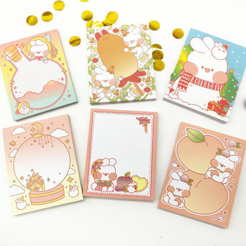 1 Pcs Kawaii Fat Rabbit Notepad Sticky Notes Memo Pads School Supplies Paper Korean Stationary Office School Decorations Gifts