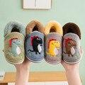 Детская домашняя обувь из флока с динозавром для маленьких мальчиков и девочек; зимняя теплая Повседневная обувь; детские тапочки; милые до...