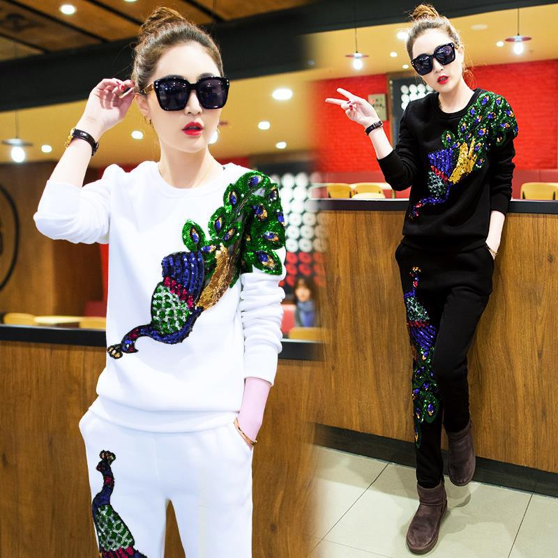 2020 Autumn New Casual Suit Peacock Sequins Trousers Sweater Two-piece Tide Women's Suit