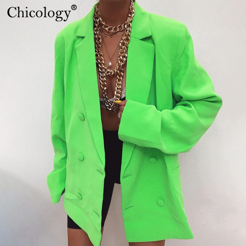 Chicology Double Breasted Blazer Long Sleeve Jacket Women Loose Coat 2019 Autumn Winter Female Streetwear Over Size Plus Clothes