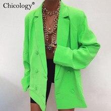 Chicology טור כפתורים כפול בליזר ארוך שרוול מעיל נשים loose מעיל 2019 סתיו החורף נקבה streetwear מעל גודל בתוספת בגדים