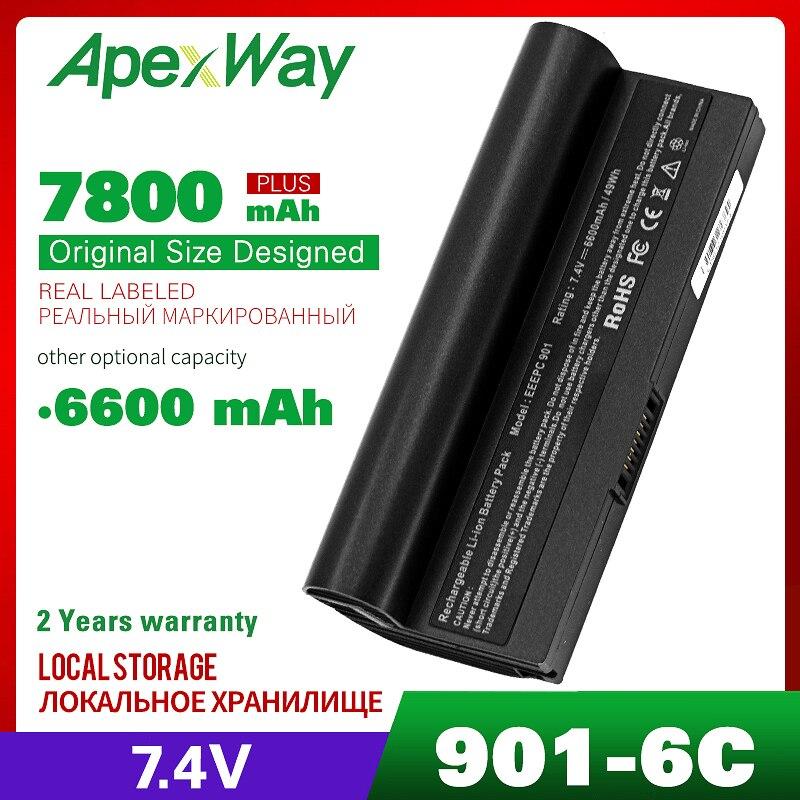 7.4V 6600mAh 6 Cells Laptop Battery For Asus AL23-901 AP23-901 Eee PC 1000 1000H 1000HA 1000HD 1000HE 901 904HD
