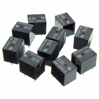 5Pcs 5V 12V 24V DC Power Relay SRA-05VDC-CL SRA-12VDC-CL SRA-24VDC-CL 5Pin Relays 20A PCB Type In stock Black Automobile
