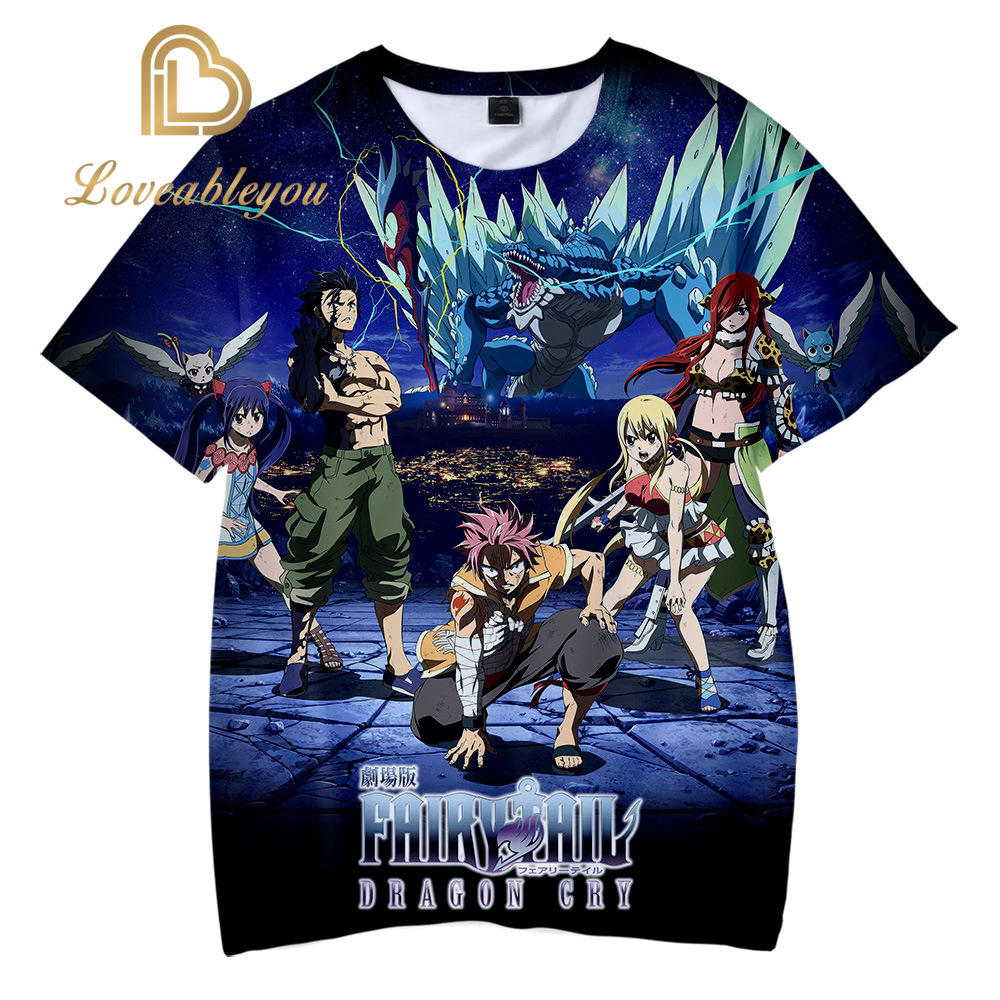 New Men/'s Summer Short sleeve Anime Fairy Tail Popular Black Tee T-shirt Slim /&/&