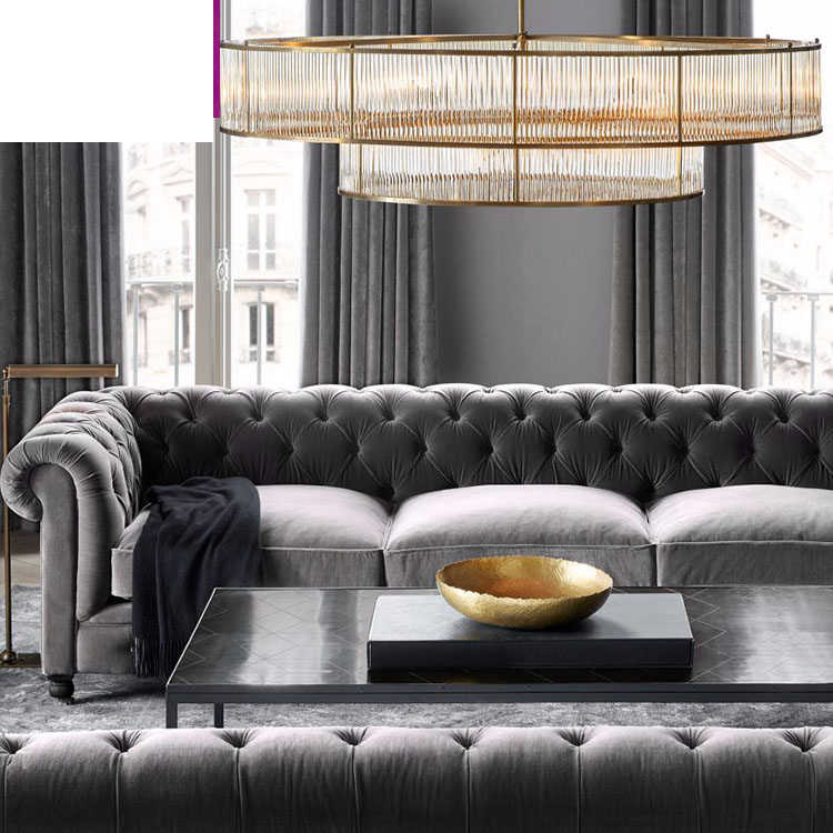 American simple glass chandelier Nordic personality Villa living room lamp modern creative European round crystal lamps lighting