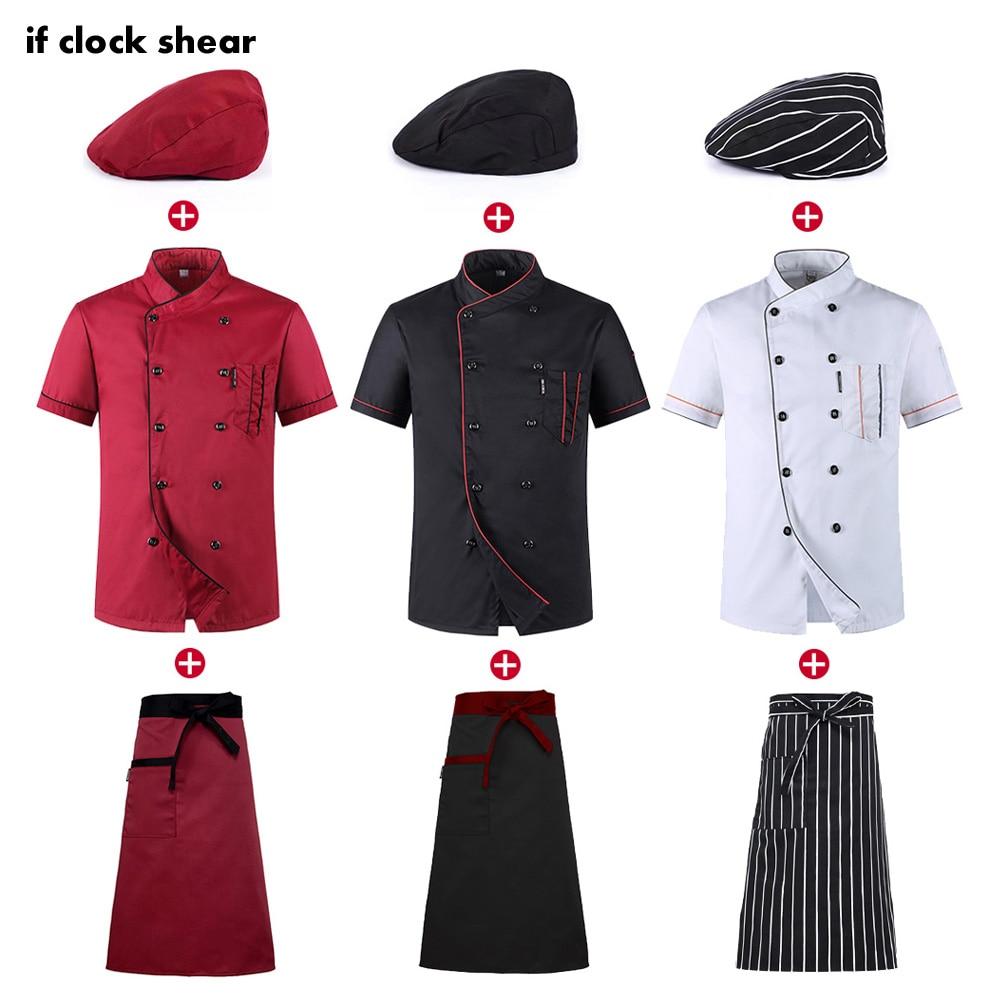 Мужская и женская летняя воздухопроницаемая тонкая куртка + шляпа + Фартук с коротким рукавом и поварской работой для ресторана, гостиницы и...