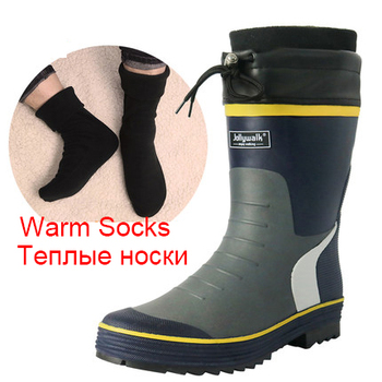 Cuculus 2020 Winter Camouflage Snow Men Boots Rain Shoes Waterproof With Plush Warm Male Casual Mid-Calf Work Fishing Boot 2119