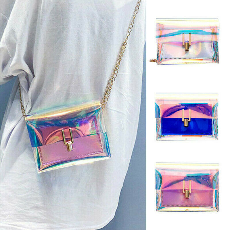 Women Transparent Clear PVC Local Stock Holographic Chain Bag Shoulder Bag Tote Hologram Handbag Purse