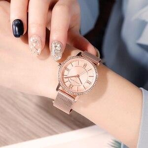 Image 2 - Relojes de pulsera con diamantes de imitación para mujer, de cuarzo japonés, informal, femenino