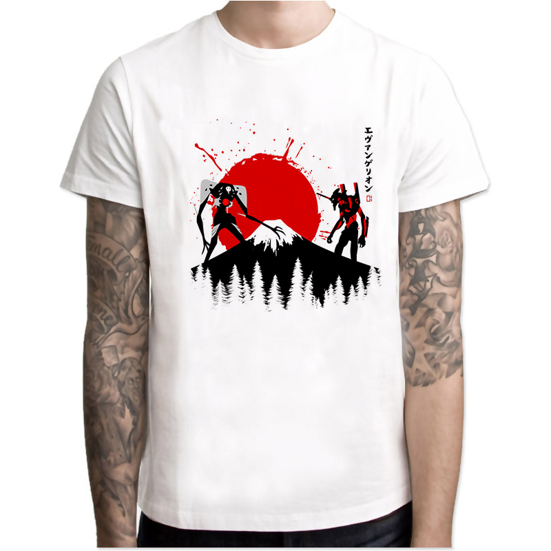 Evangelion Men T-Shirt Fashion Printed Cool T Shirt Men Summer Short Sleeve Casual White Tops Hipster Tees