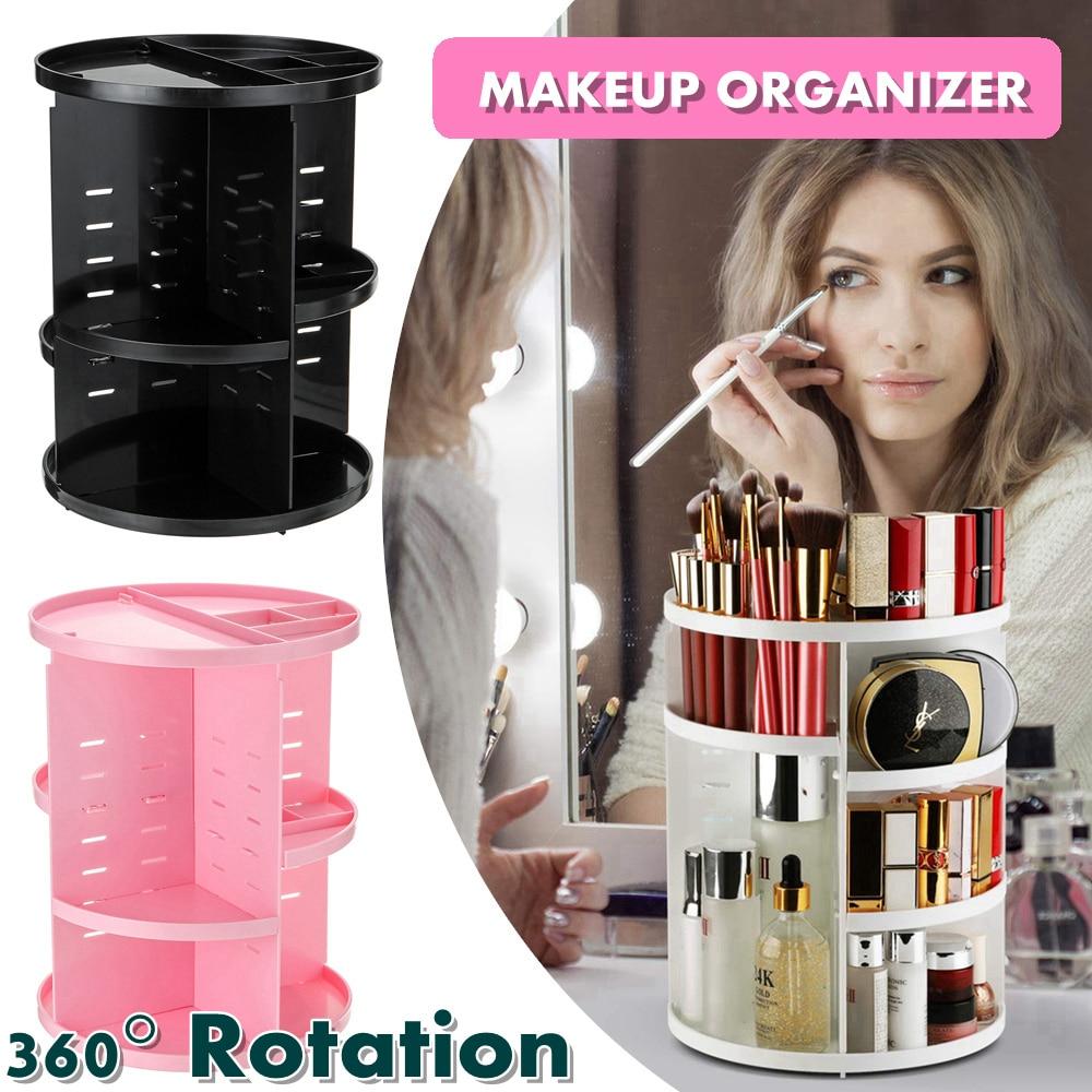 360 Degree Rotatable DIY Large Capacity Makeup Cosmetic Storage Box desktop Storage Shelf Makeup Skin-care Products Organizer