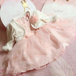 2 шт., детская одежда для девочек, формальная одежда для крещения, розовое кружевное платье принцессы для крестин, свадьбы, 1 день рождения, ве...