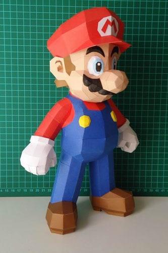 3D Paper Model Super Mario Standing DIY Handmade Toy