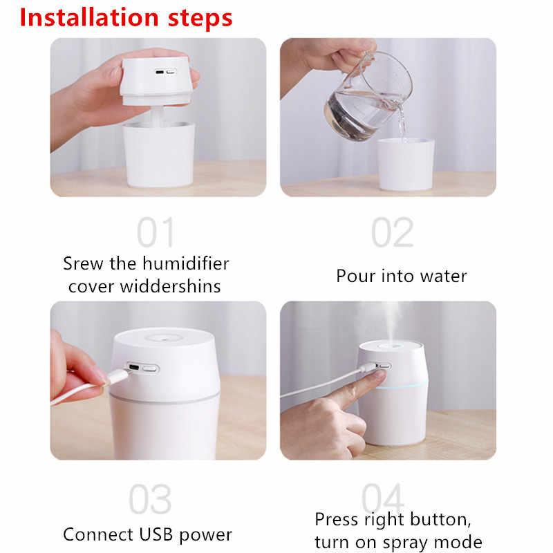 Mini Portable Air Humidifier USB Aroma Essential Oil Diffuser Air Purifier Home Car Mist Maker LED Air Freshener