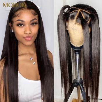 Pelucas de cabello humano Frontal de encaje 360 línea de pelo pre-desplumado 13X4 peluca con malla Frontal recta brasileña con pelo de bebé remy gratis para Brasil