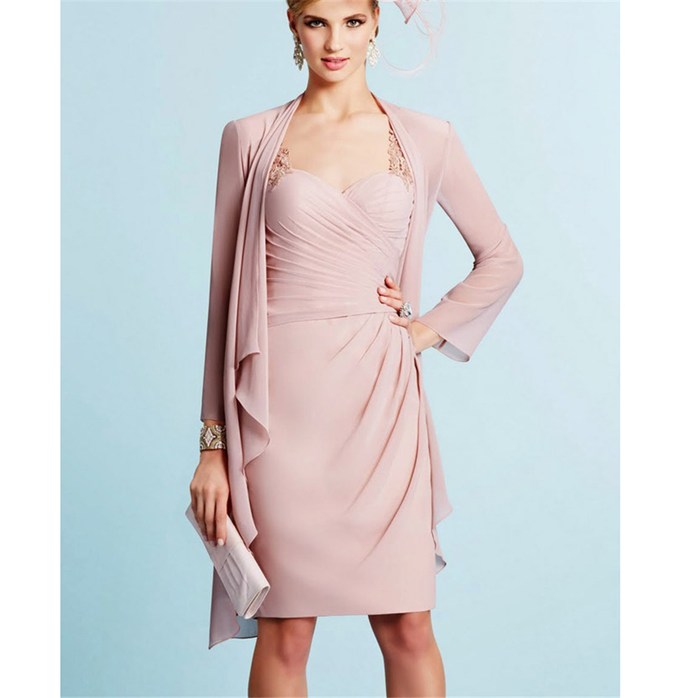 Pink Chiffon Women's Dresses V-neck Short Sheath Appliques Ruffles Custom-Made Mother Of The Bride Dresses Plus Size With Jacket