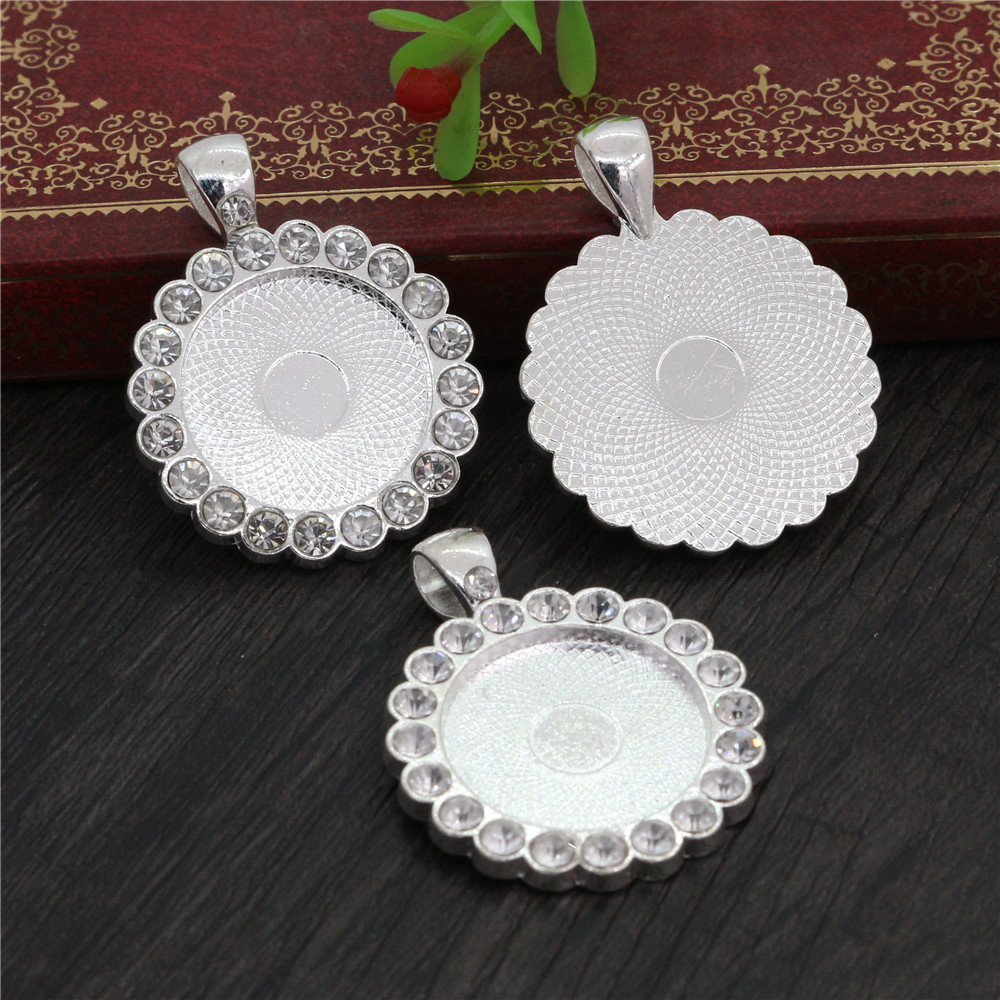 2pcs 20mm Inner Size Bright Silver Plated Transparent Rhinestone Style Cameo Cabochon Base Setting Pendant (D3-72)