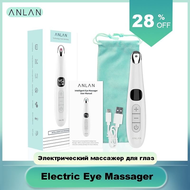 Anti Age Eye Massager, ANLAN Anti Wrinkle Eye Massager Relax Eyes Adjustable 37-45 ℃ Hot Massage With LCD Display, USB Rechargea