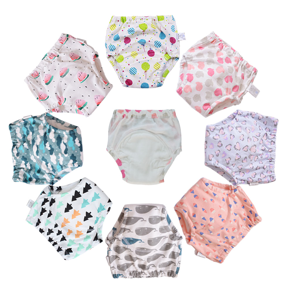 10 Pcs Cotton Reusable Washable Baby Training Pants Kids Underwear Cloth Diaper Nappies Infant Waterproof Potty Training Panties