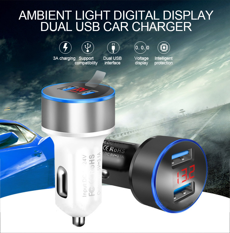 3.1A 5V Dual USB Car Charger With LED Display Voltage/Current Display Mobile Phone Car-Charger For Smart Phone/Tablet