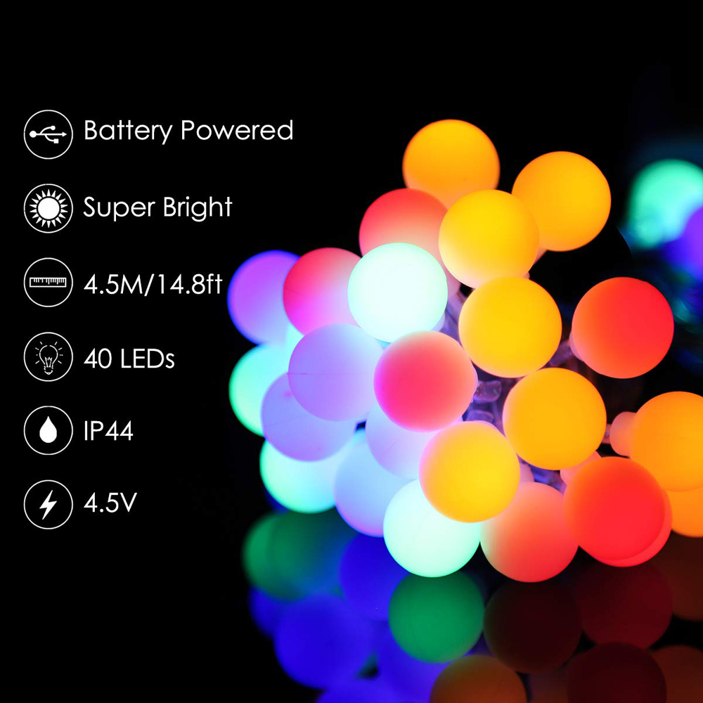 1.5m 3m 6m 10m Ball LED String Light Globe Bulb 5V Battery Power Fairy Lights Holiday Christmas Wedding Party Garden Decoration