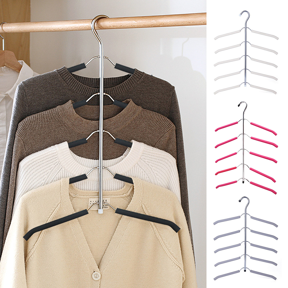 New Multilayer Hanger Stainless Steel Clothing Storage Racks Home Clothing Storage Holder Racks Wardrobe Laundry Drying Rack