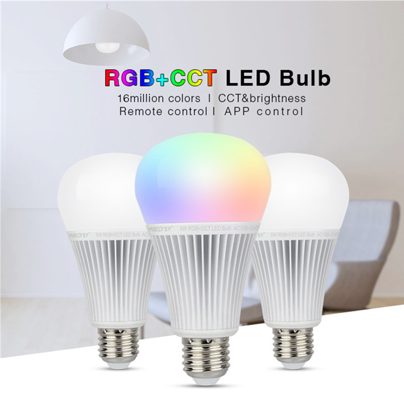 Miboxer <font><b>FUT012</b></font> E27 AC85~230V 9W RGB+CCT LED Bulb light Smart led lamp 2.4G Remote /APP Control image