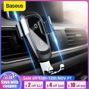 Image 1 - Беспроводное зарядное устройство Baseus Qi, автомобильный держатель для телефона iPhone 11Pro, Samsung, держатель, подставка с креплением на вентиляционное отверстие, Гравитационный автомобильный держатель
