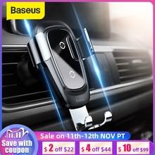 Baseus Soporte de teléfono para coche, cargador inalámbrico Qi, 11Pro para iPhone, Samsung, soporte de teléfono móvil, soporte de ventilación de aire, soporte de coche Gravity