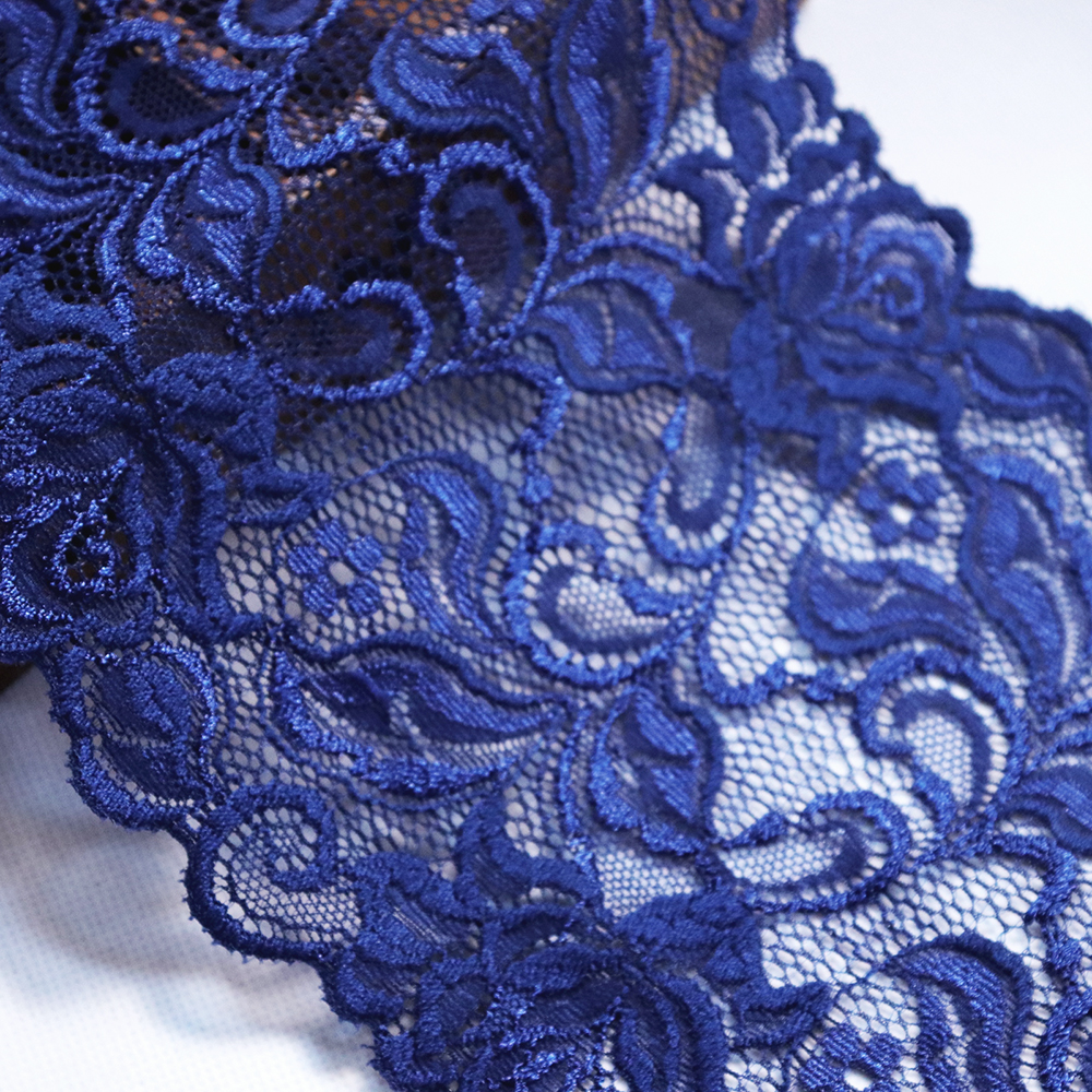 2 Yards 16 cm Width Embroidered Elastic Lace Trim For DIY Clothing Accessories Sewing Materials Garter Stretch Lace Fabrics Blue in Lace from Home Garden
