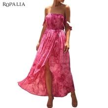 Sexy Tube top Long Dress 2019 Summer Strapless Print Vestidos Gradient High Waist Top Dresses