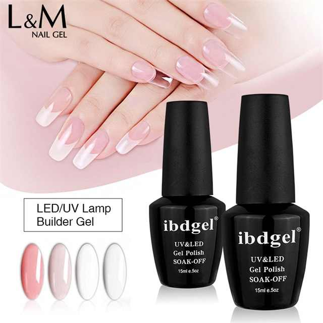 6Pcs Ibdgel Builder Gel Voor Nail Extension Vinger Uv Gel Polish Semi Permanente Poly Clear Hard Gel Polish 15ml