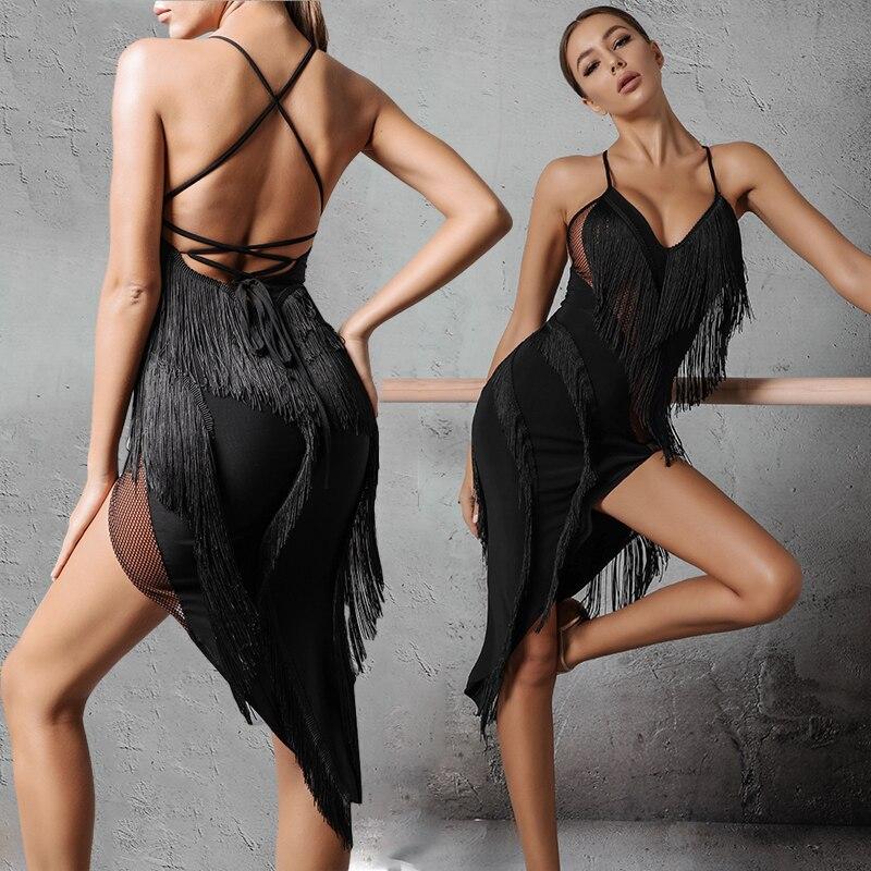 Latin Dance Dress Adult Sexy Sleeveless Fringe Dress Latin Competition Dresses Samba Dancing Costumes Performance Clothes SL2128