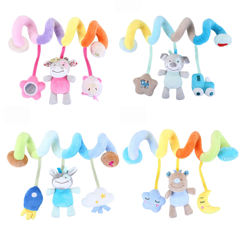 Soft Baby Toys 0-12 Months Music Crib Stroller Hanging Spiral Kids Sensory Educational Toy For Newborn Baby Rattles Bed Bell(China)