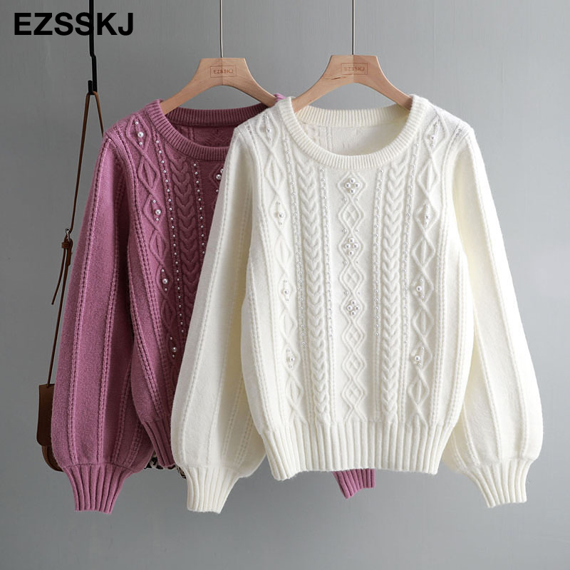 2019 New Autumn Winter Thick Cashmere Sweater Women Loose O-neck Lantern Sleeve Pearl Beading Sweet Sweater Oversize Wool Top