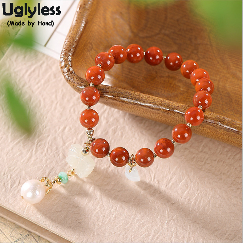 Uglyless Luxury 14K Gold Bracelets for Women Infinity Elastic Rope Agate Bracelets Natural Jade Butterfly Pearls Charms BR359